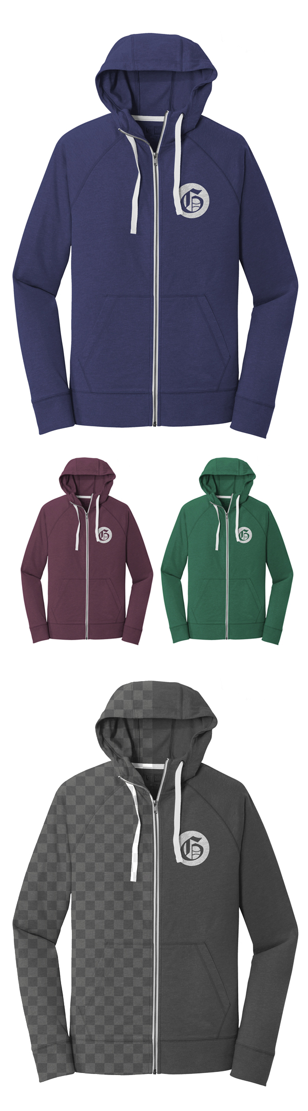 Free Zip-Up Hoodie Mockup Template