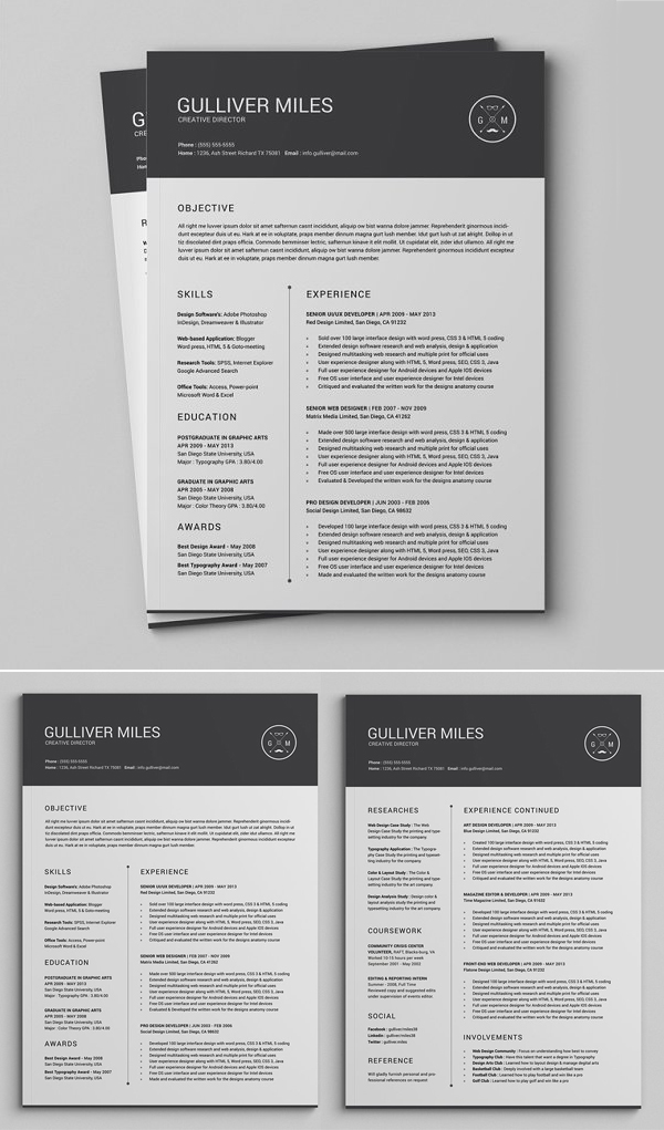 2 Pages Resume CV