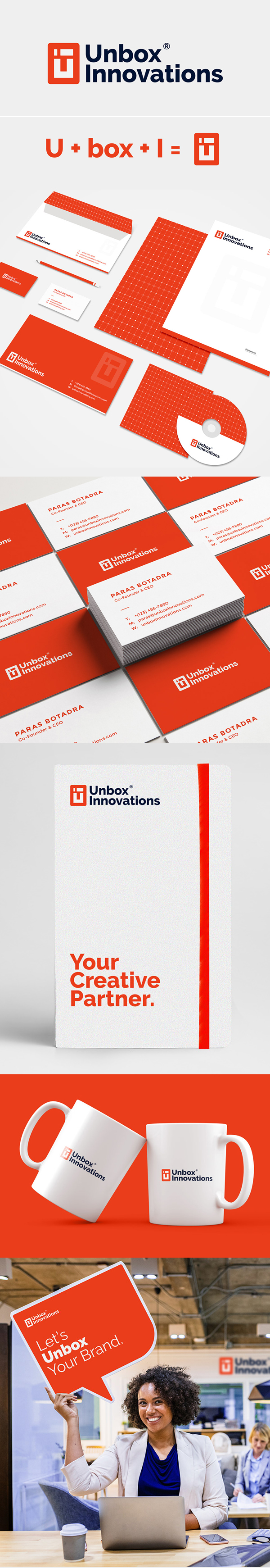 Branding: Unbox Innovations Logo design and Branding by Kanhaiya Sharma