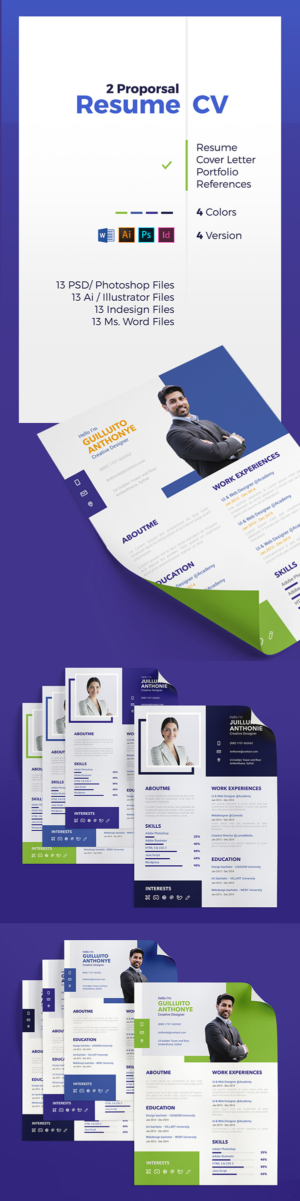 Free Corporate Resume / CV Template