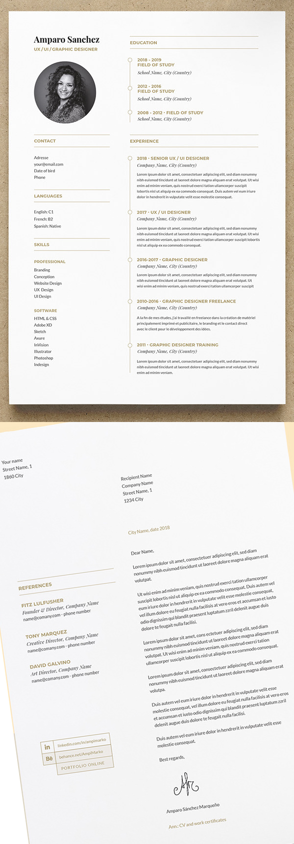 Free CV Resume Template with Cover Letter