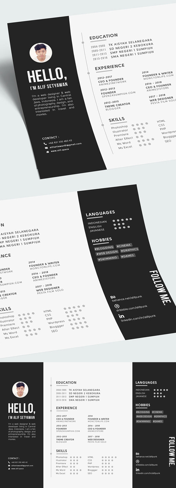 Free Landscape CV Resume A4 Template