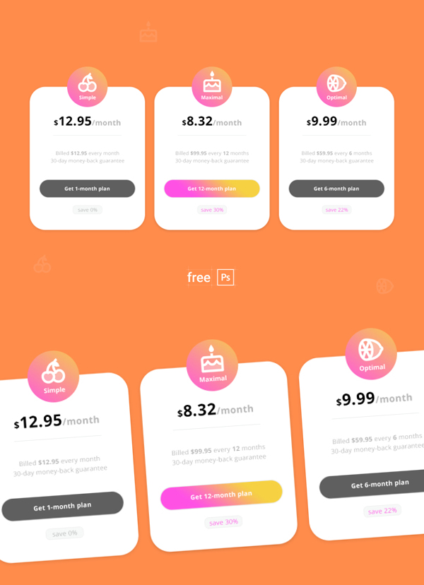 Free Pricing Table PSD Template