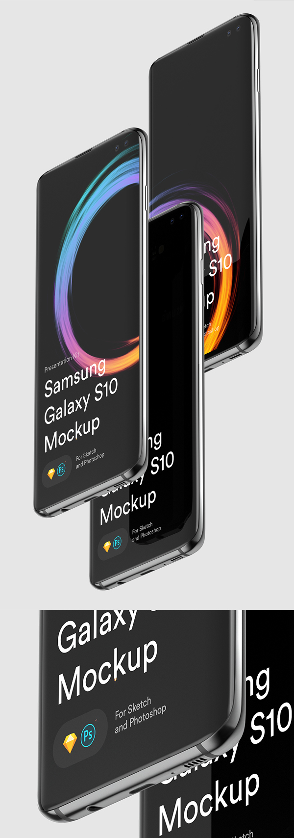 Free Samsung S10 Sketch and PSD Mockups