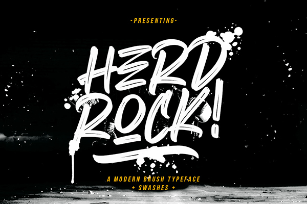 Herdrock Brush Font Free Font - 50 Best Free Brush Fonts