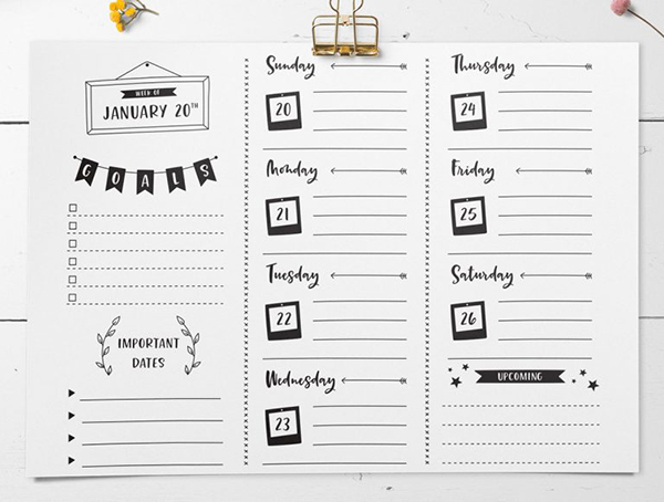 Create a Bullet Journal Weekly Planner Design in Illustrator