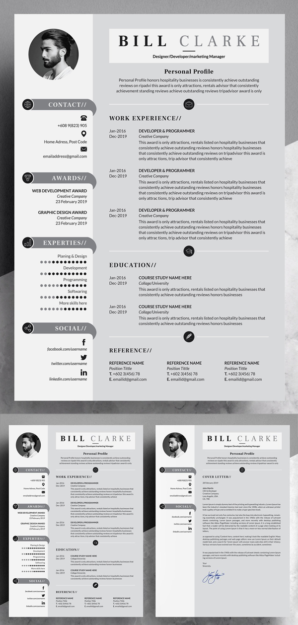 Modern Resume / Cv with Cover Letter