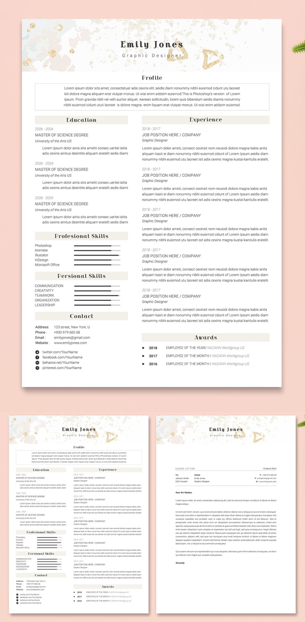 Water Color CV-Resume Tempalate