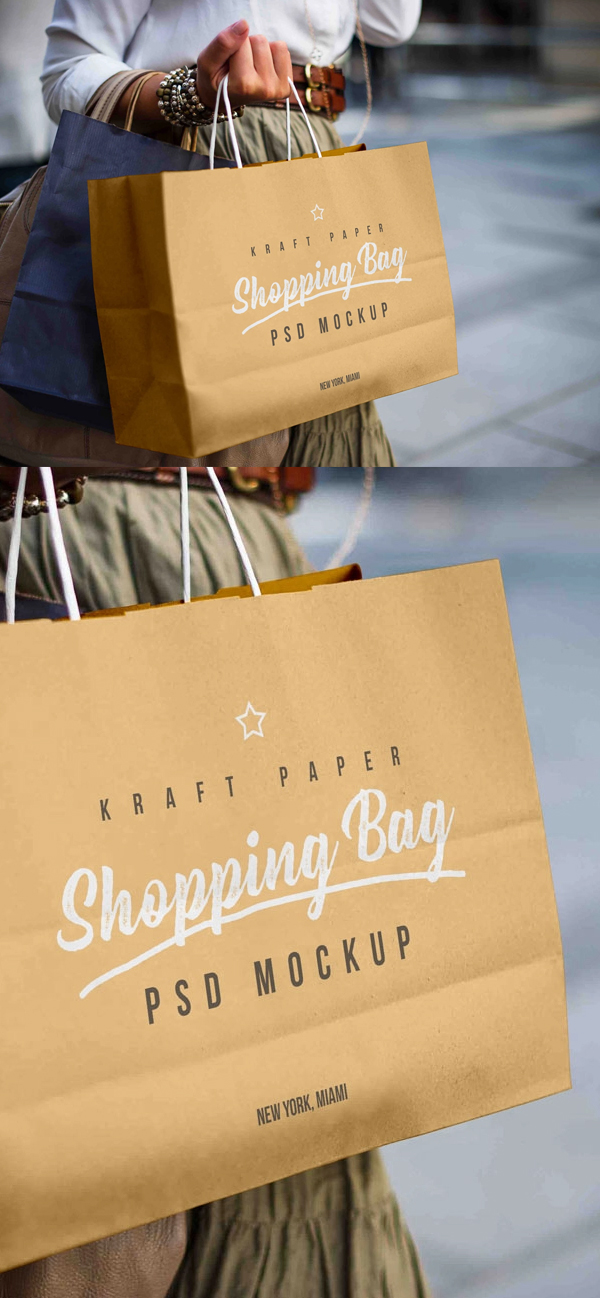 Free Female Holding Kraft Paper Shopping Bag Mockup PSD