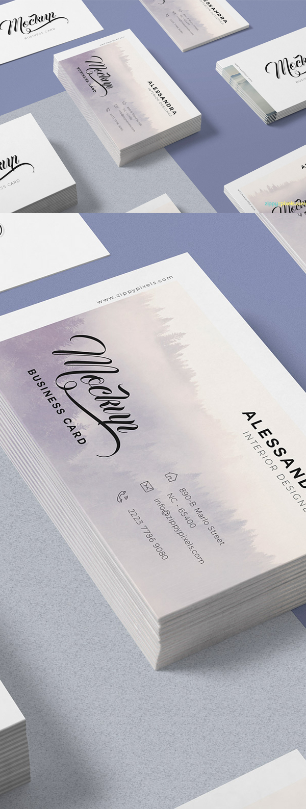 Free isometric business card mock up