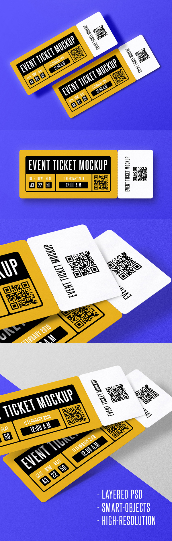 Free event ticket mockup