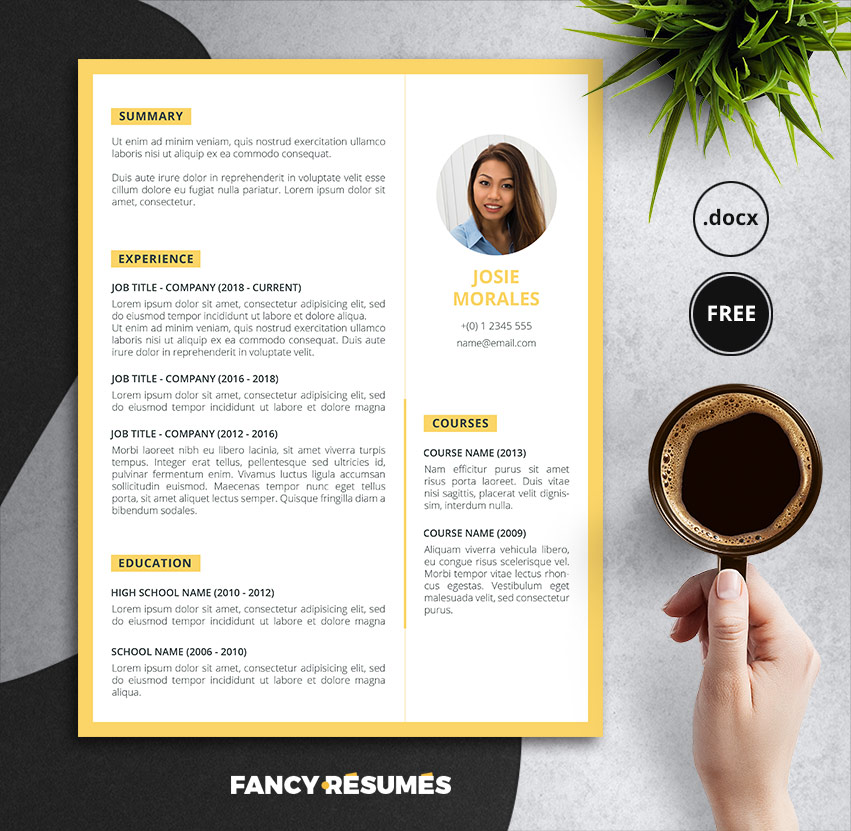 Orant – A Free Fancy Resume Template for Word