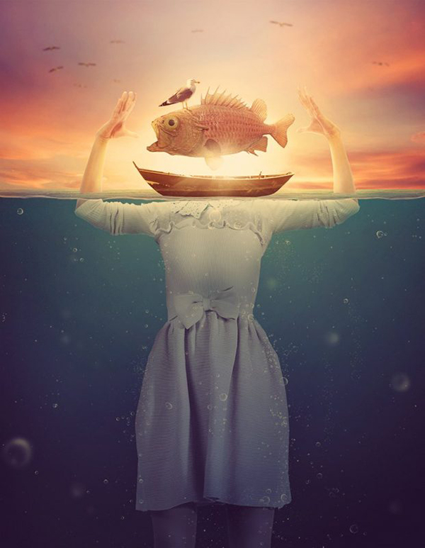 Create Surreal Underwater Scene in Photoshop Featuring a Fish-Head Lady in Photoshop