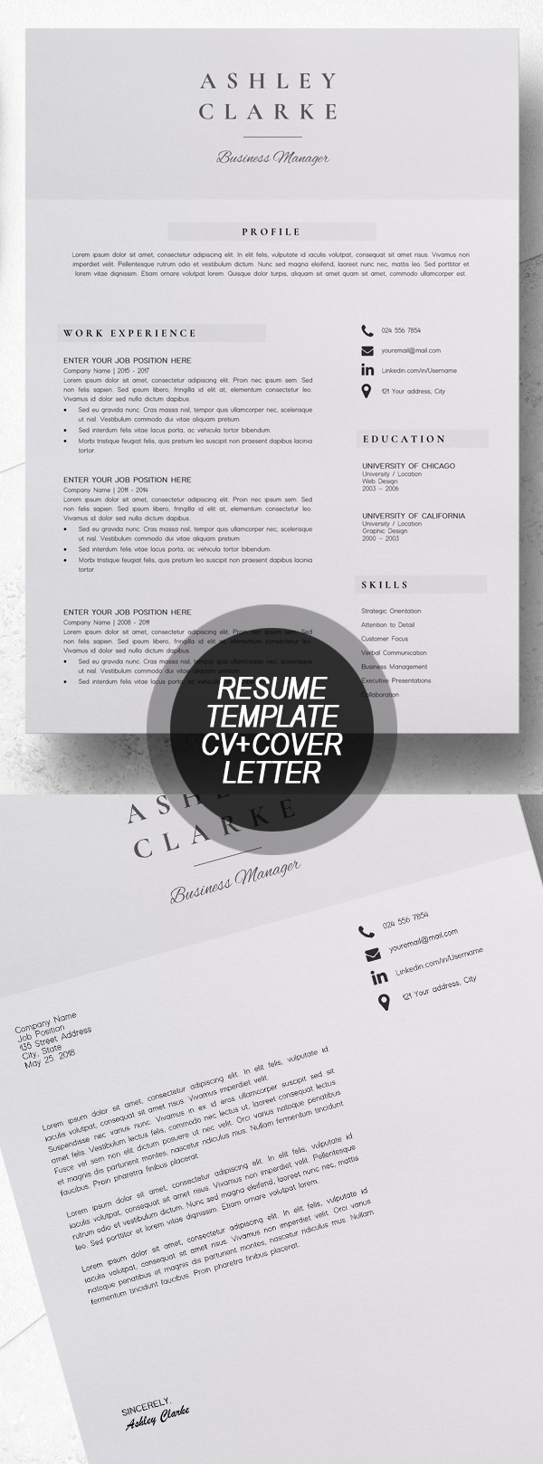 Resume Template  CV + Cover Letter #resumedesign