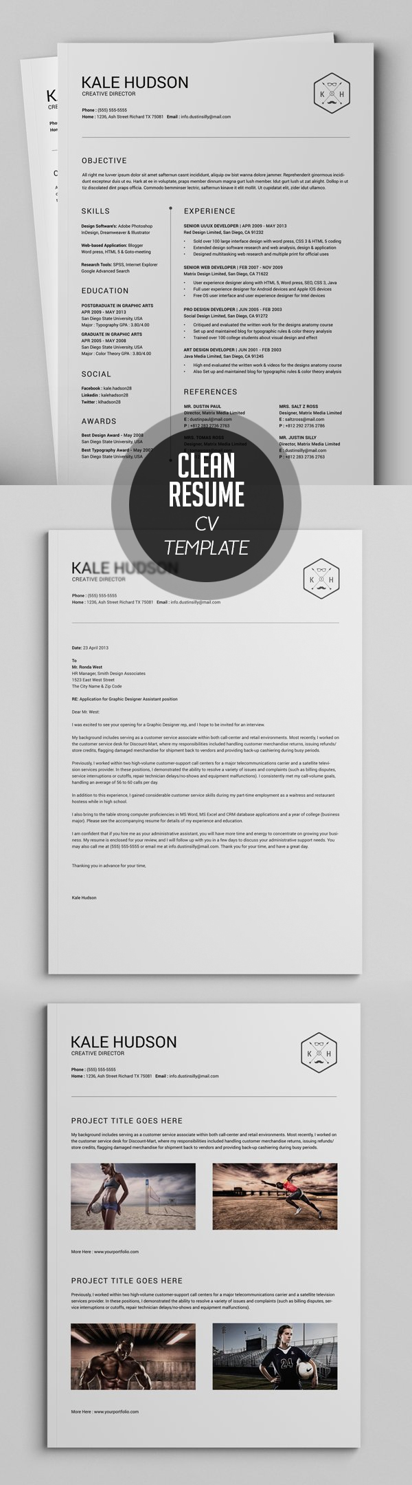Clean Resume CV Template #resumedesign