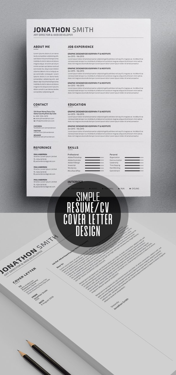 Simple Resume/CV Template Design #resumedesign