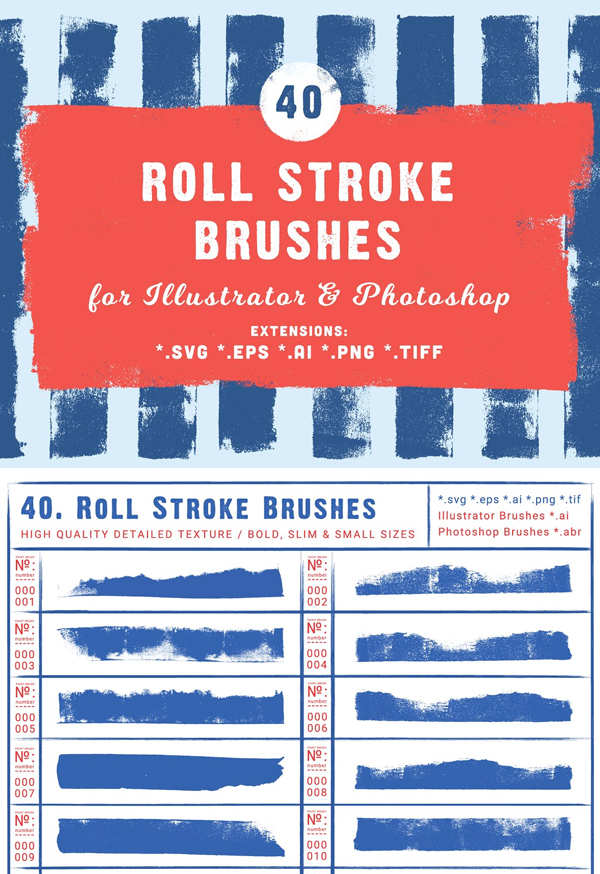 40 Roll Stroke Brushes for Ai   Ps