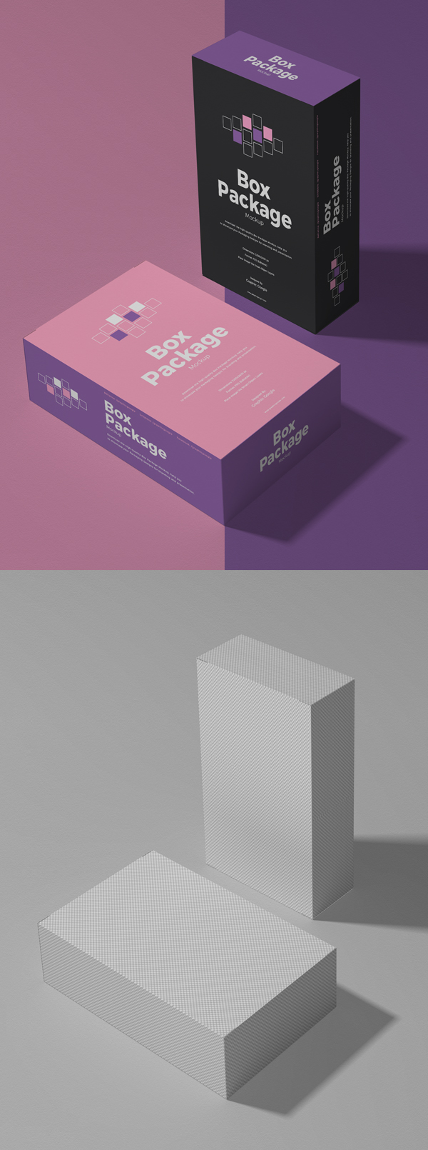 Free packaging box PSD mockup