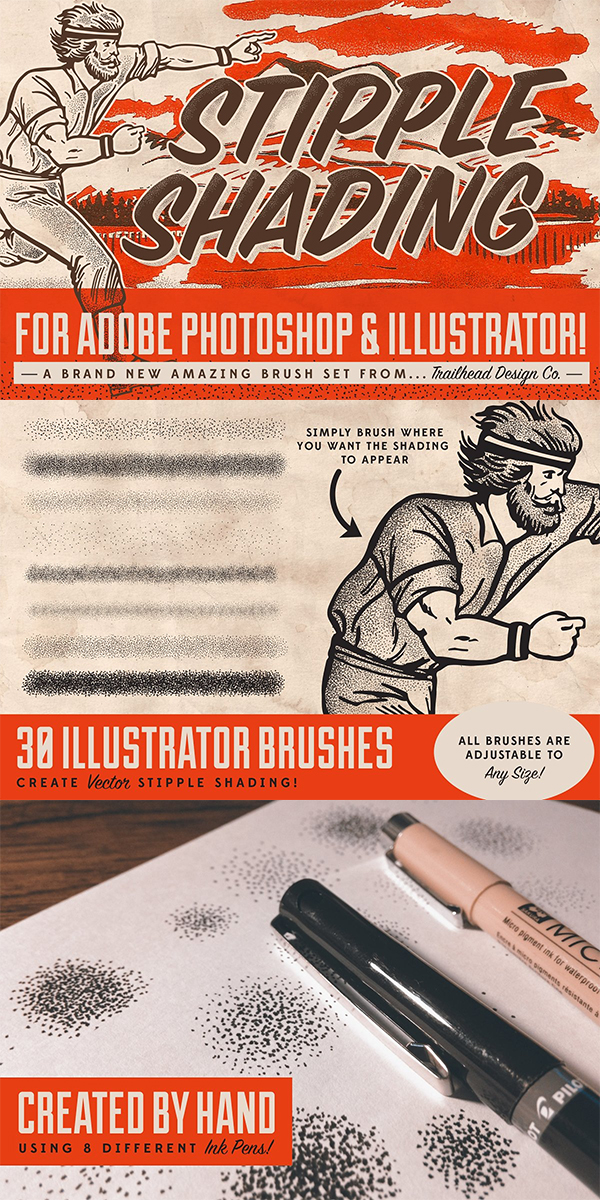 Stipple Shading Brushes for PS & AI