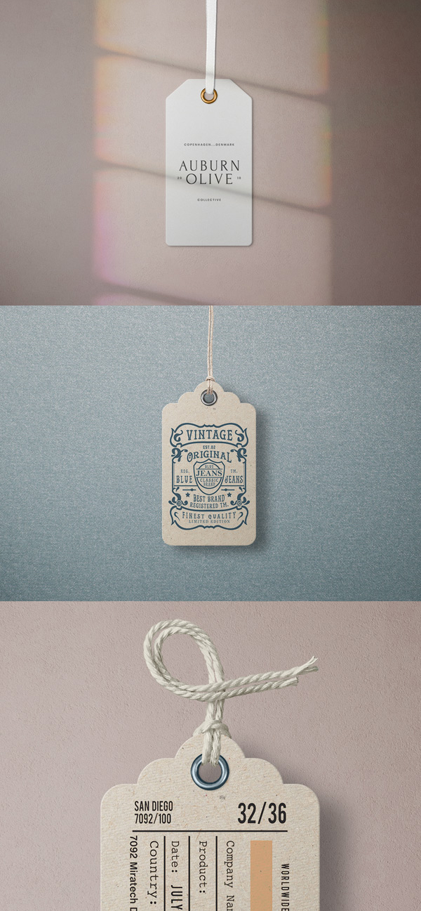 Free garment label tag mockups
