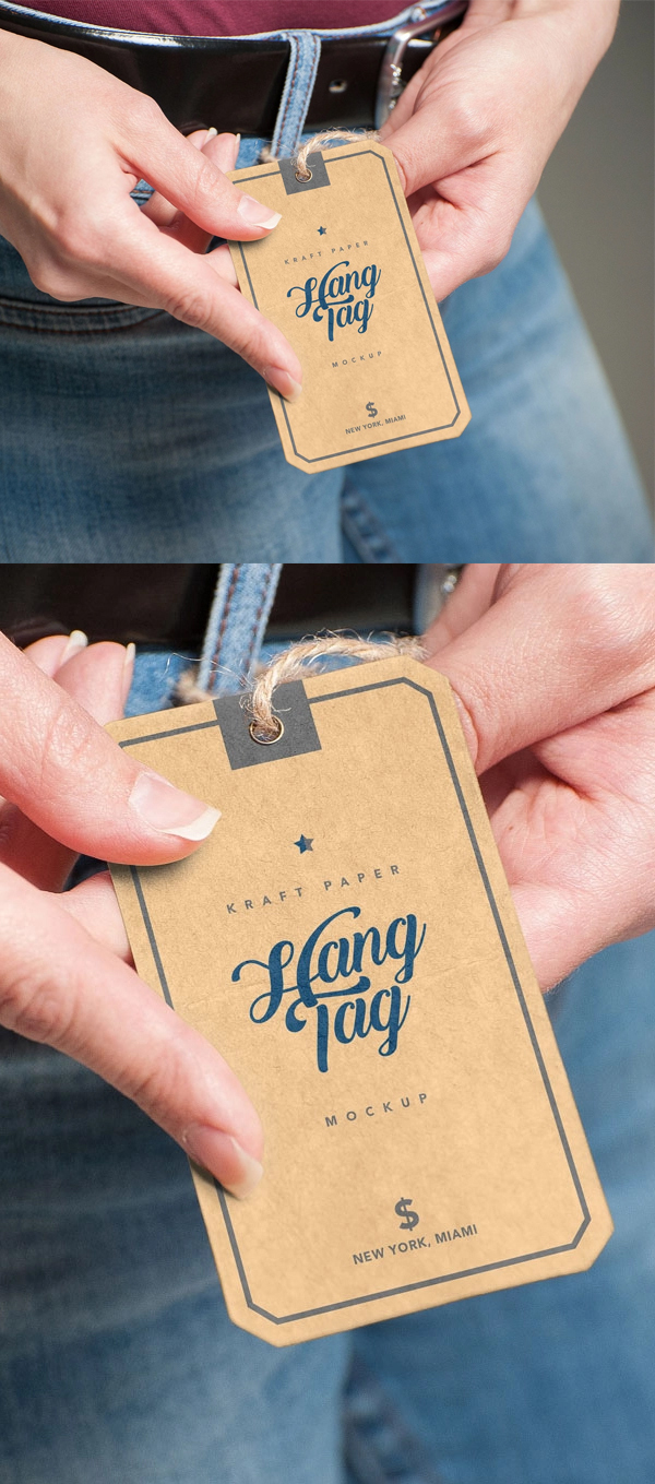 Freehand Hold Kraft Hang Tag Mockup PSD