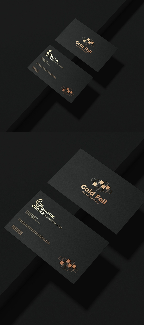 Free gold foil business card model PSD