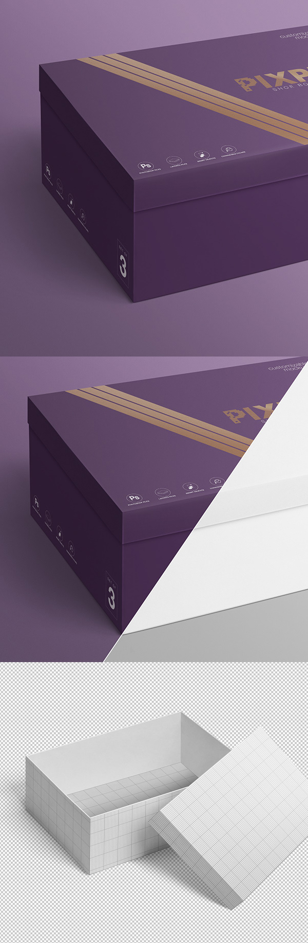 Free shoebox mockup set