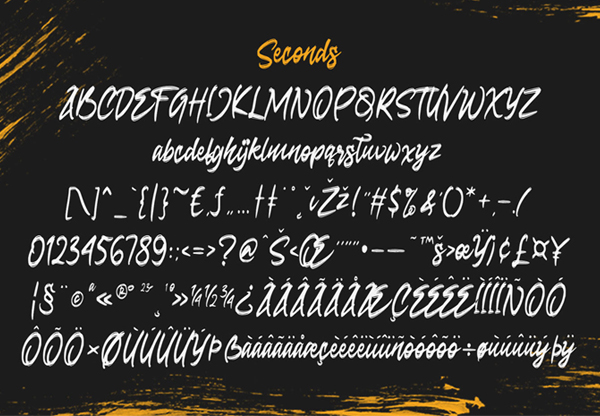 Seconds Rough Brush Script Free Font Letters