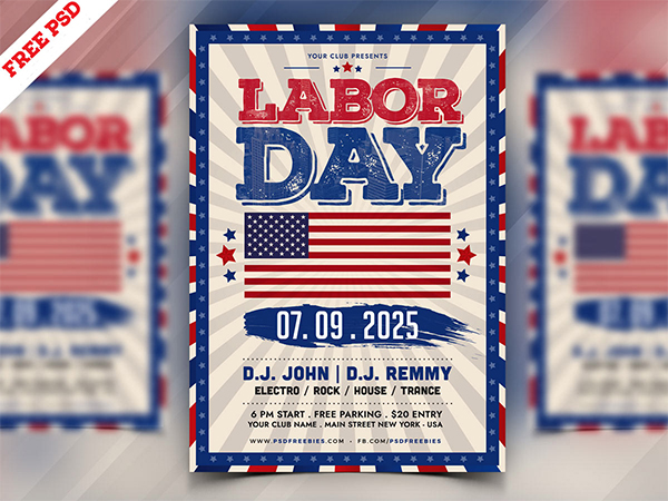 Labor Day Flyer Template PSD