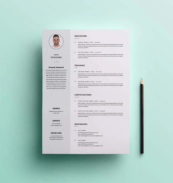 Simple Clean Resume / CV Template Design Free Download