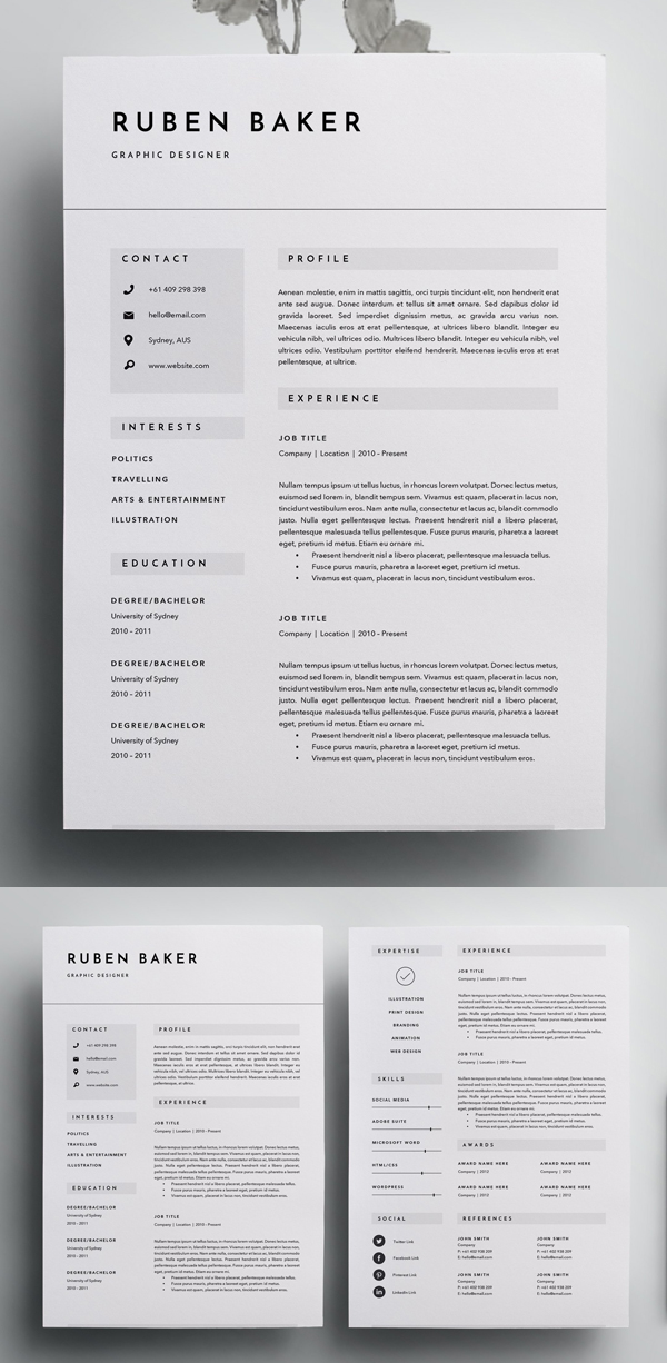 Simple 3 Page Resume Template