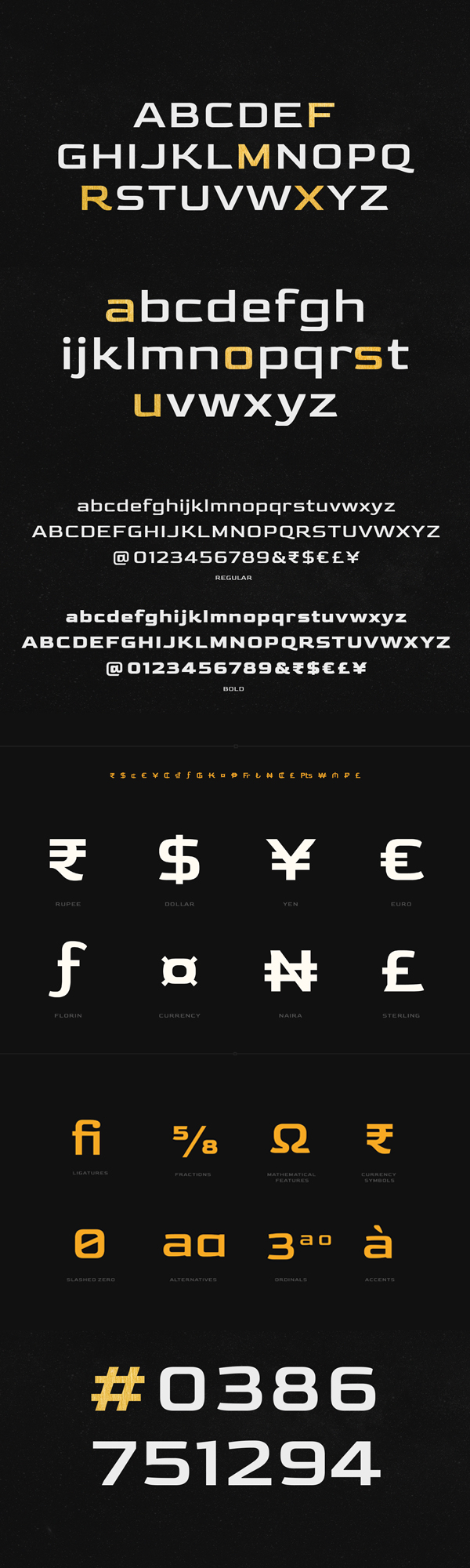Gold Font Letters