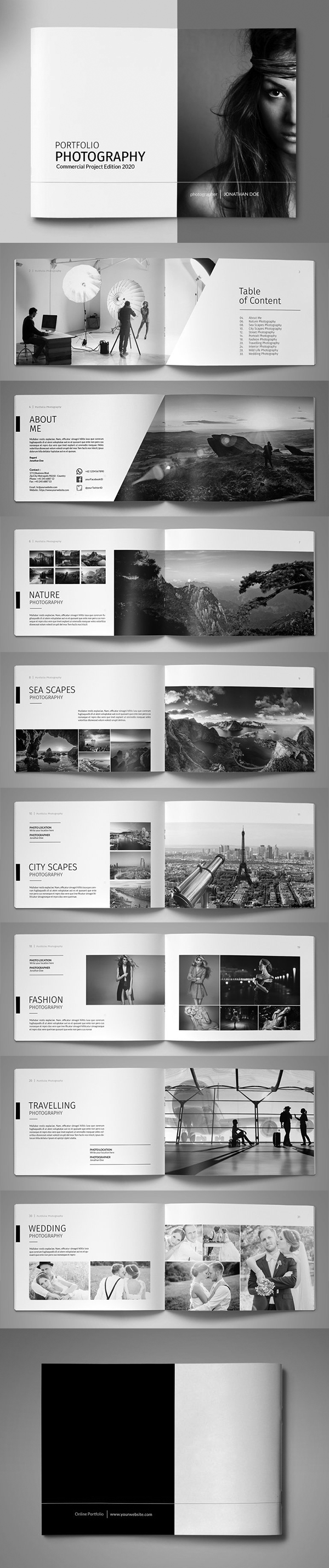 A5 photography portfolio brochure template