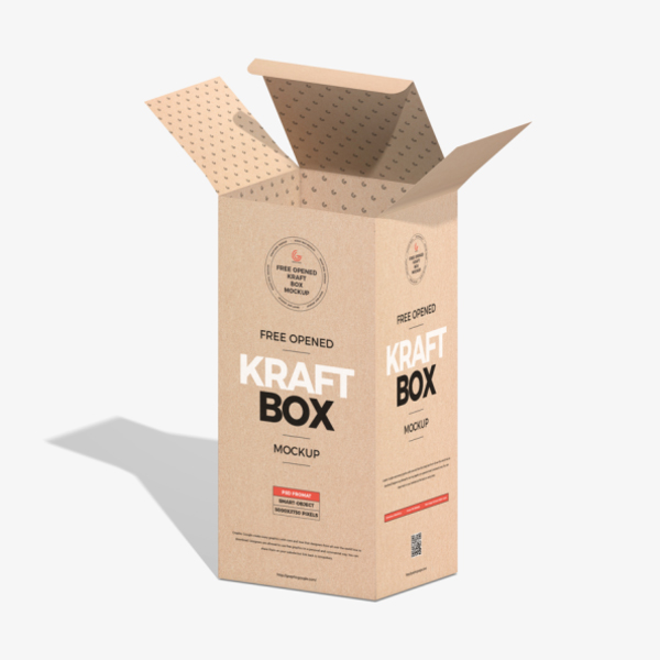 Free open Kraft Box model