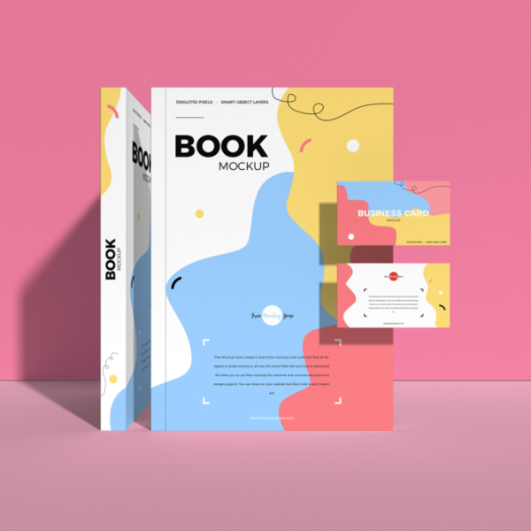 Free Book With Business Card Mockup