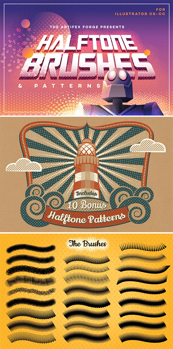 Halftone Brushes + Bonus Patterns