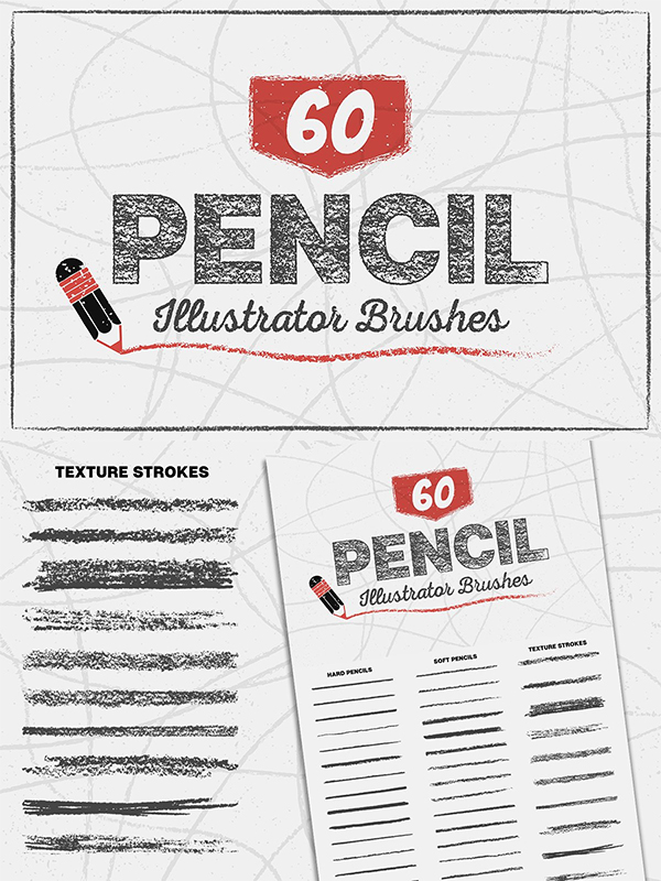 60 Pencil Brushes for Illustrator