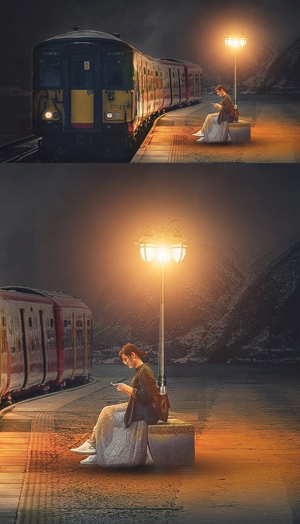 How to Create Concept Art Waiting for the Train Photoshop Manipulation Tutorial