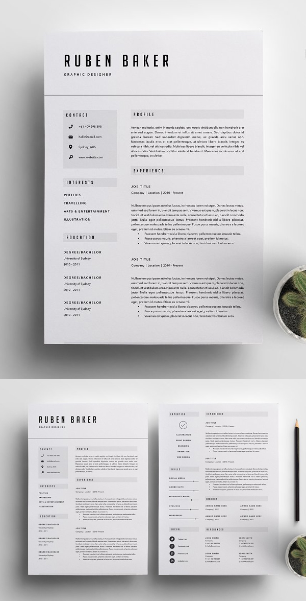 Awesome Resume Template 3 Page | CV Template