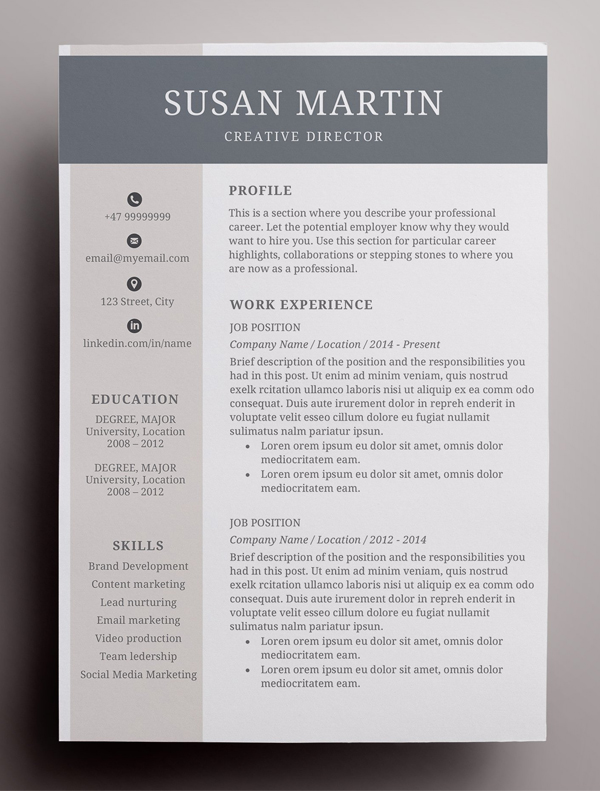 Simple template for a creative resume