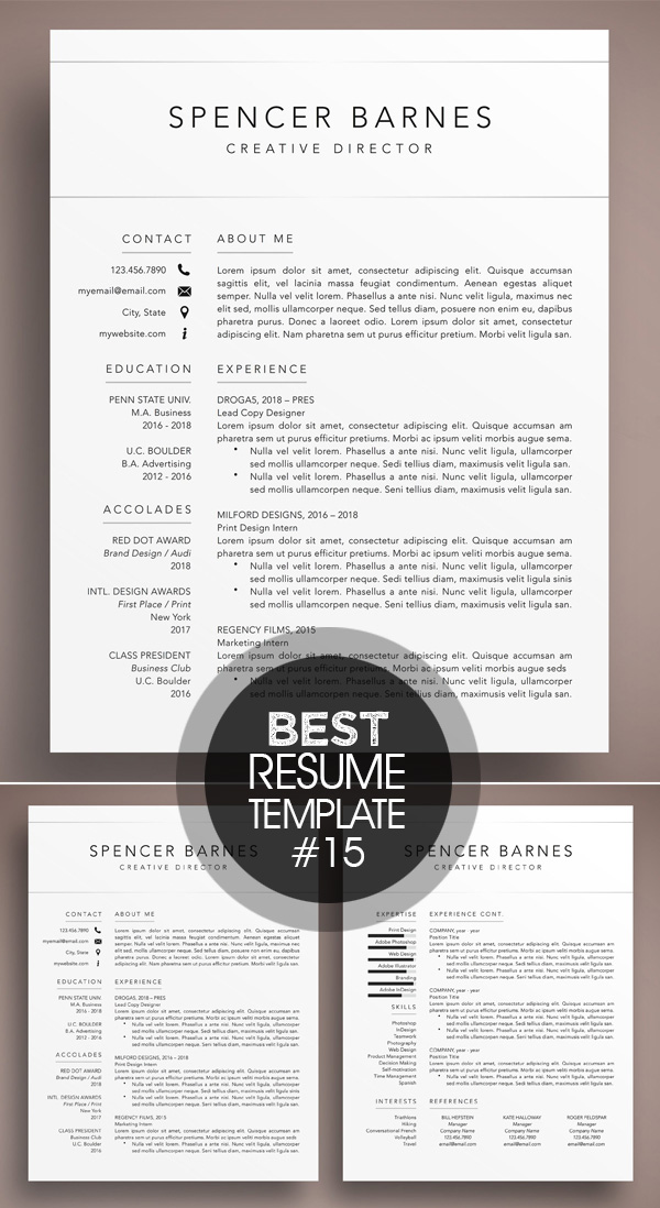 Modern Resume CV Template Word Pages
