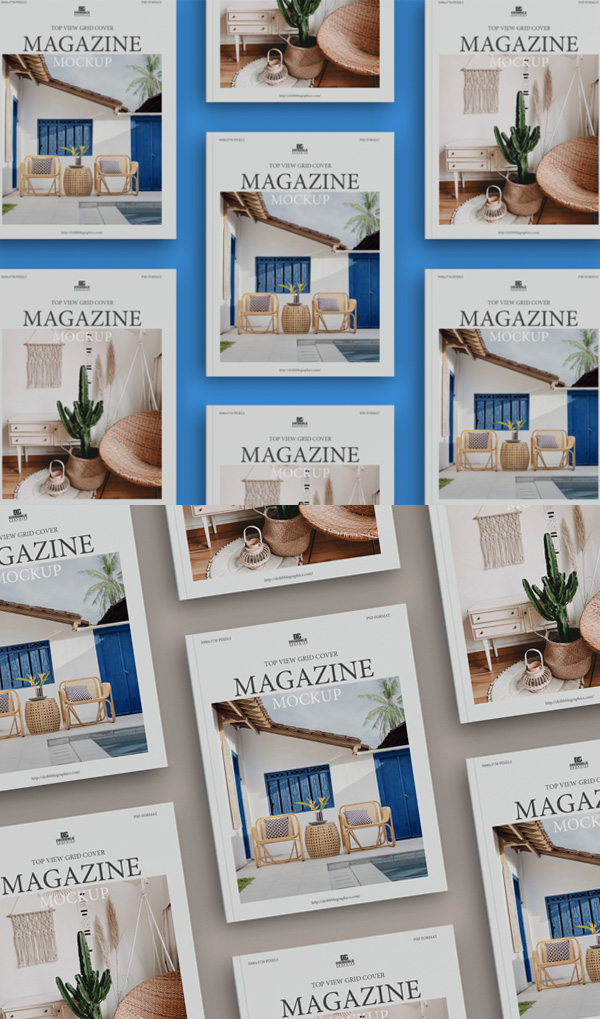 Free Top View Grid Cover Magazine Mockup