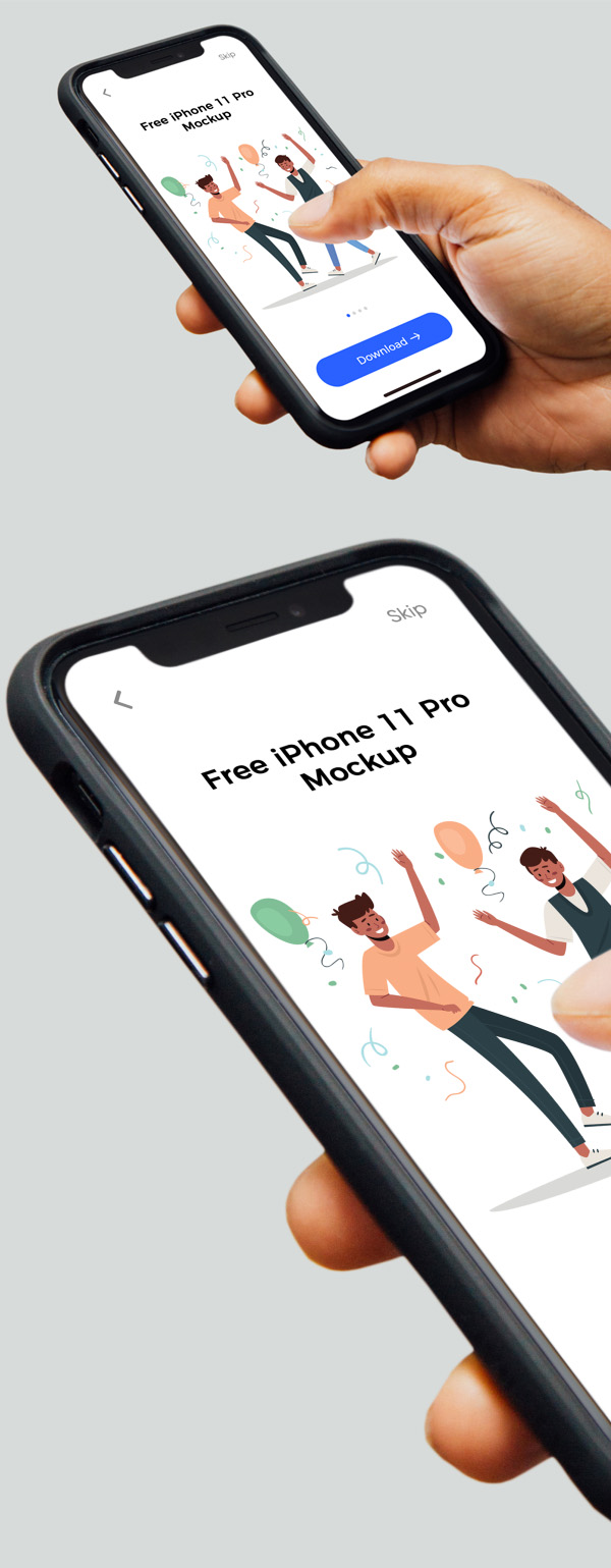 Free iPhone 11 Pro in Hand Mockup PSD
