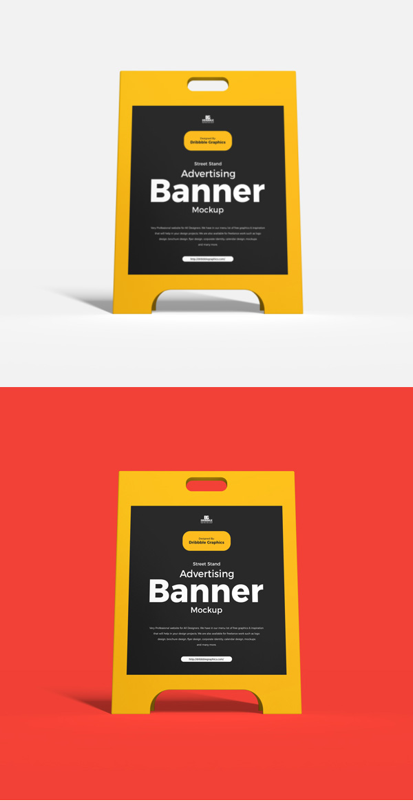 Free Street Stand Advertising Banner Mockup