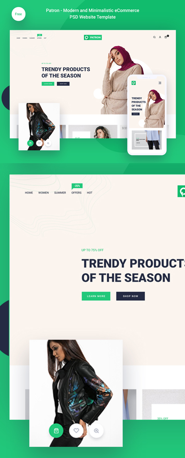 Free modern and minimalist e-commerce PSD template