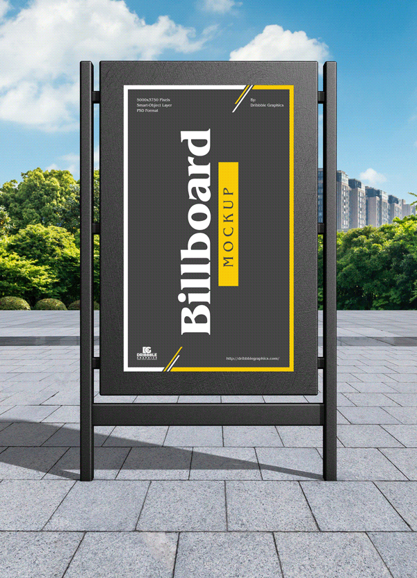 Free Modern City Advertising Billboard Mockup
