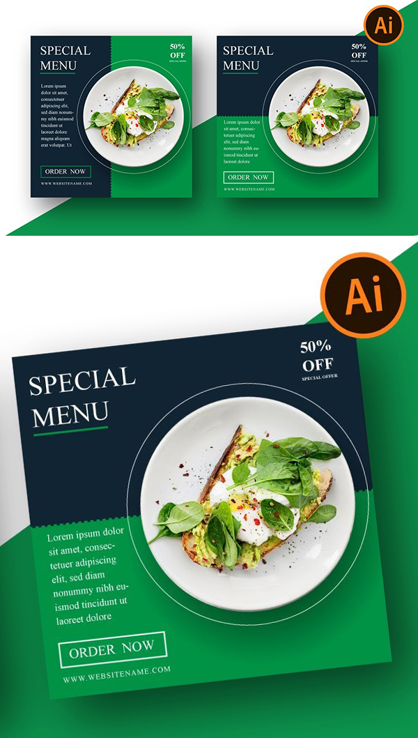 Social Media Banner Design For Food Menu | Adobe illustrator Tutorial
