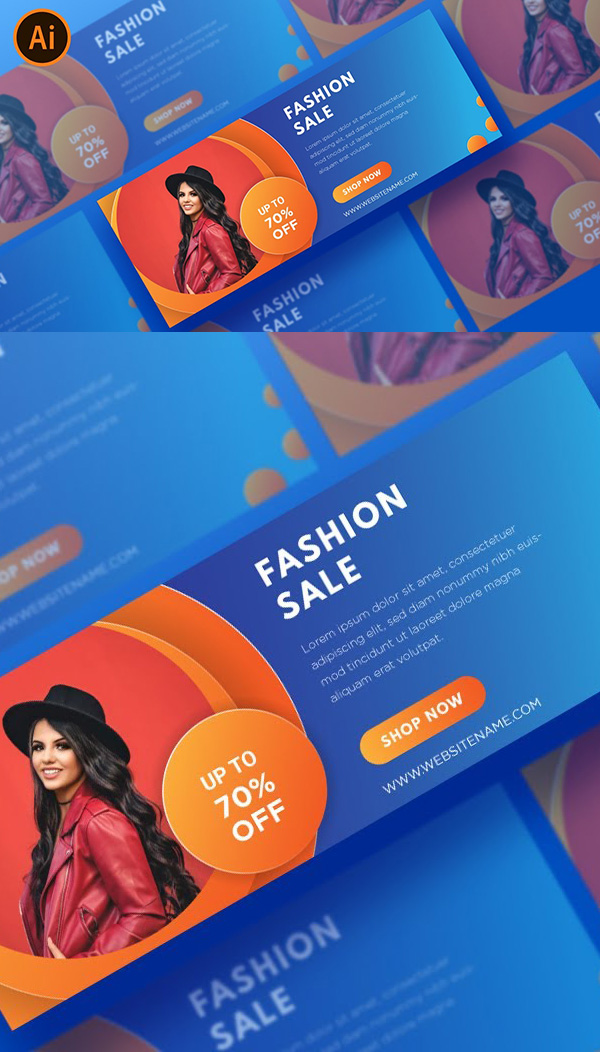 How to create a simple fashion web banner design in Illustrator tutorial