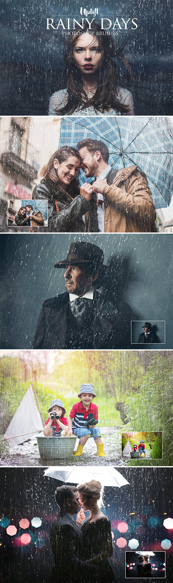 30 Rain Brushes for Photoshop