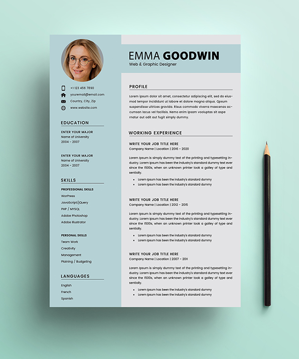 Free Resume 2 Page + Cover Letter Templates (PSD) - 4